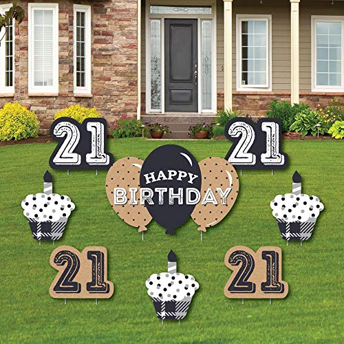 Finally 21-21st Birthday - Yard Sign & Outdoor Lawn Decorations - 21st Birthday Party Yard Signs - Set of 8