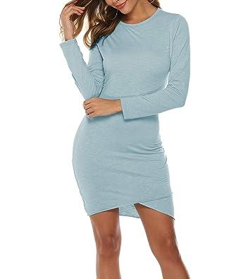 4537e26701 Mansy Women's Long Sleeve Tulip Bodycon Dress Ruched Short Mini Dresses
