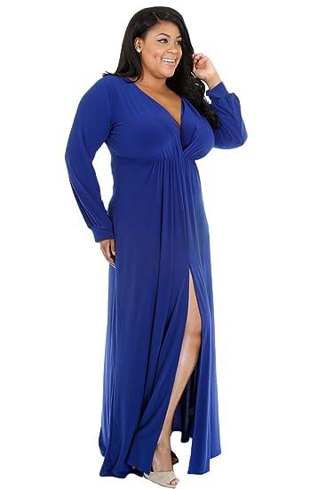 Damen plus Größe Blau Tiefer V-Ausschnitt Lange Ärmel Maxi Kleid ...