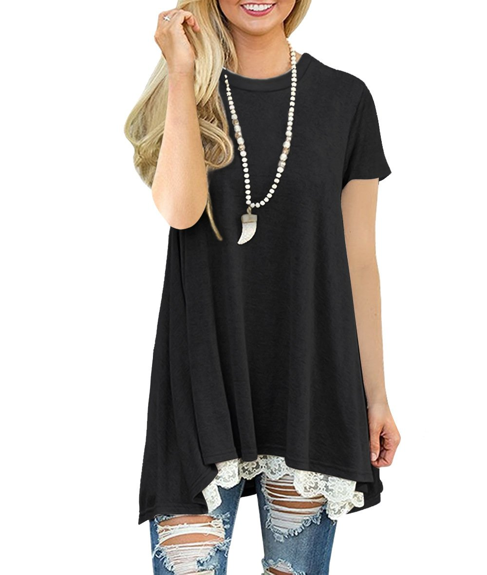 Kool Classic Women's Casual Lace Hem Short Sleeve Tunic Top Blouse Black Small