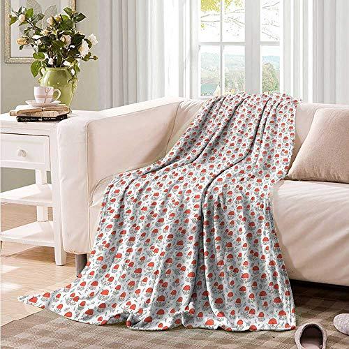 Oncegod Soft Warm Coral Fleece Blanket Kids Mushroom Houses Nature Forest Bedding Throw, or Blanket Sheet 60