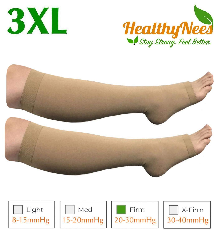 HealthyNees Big Tall Plus Size Wide Calf & Extra Wide 20-30 mmHg Open Toe Medical Compression Leg Swelling Circulation Men Women Socks (Beige, Big Calf 3XL)