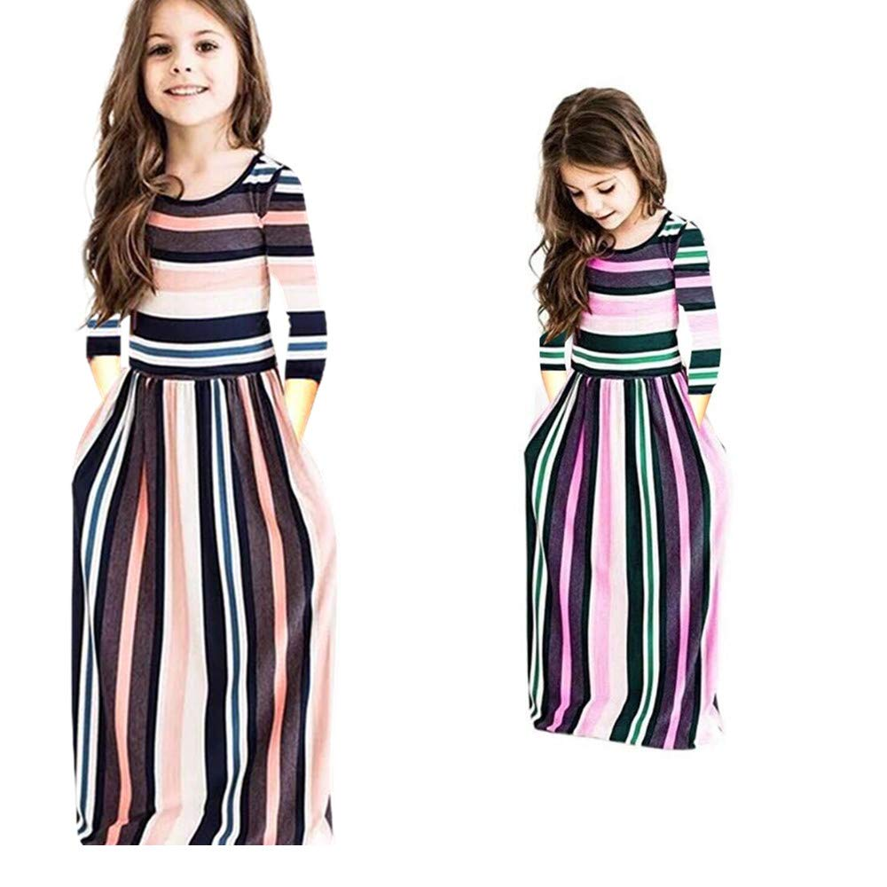 Miss Bei Girl's Summer Short Sleeve Stripe Holiday Dress Maxi Dress with Pocket Size 0-7T (6-7Years/140cm, Long Pink)