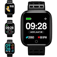 Fitness Tracker Watch, KUNGIX Activity Tracker Smart Watch Waterproof Smartwatch Color Screen with Heart Rate Monitor Bracelet Pedometer Step Counter and Sleep Monitor for iOS Android iPhone (Black)