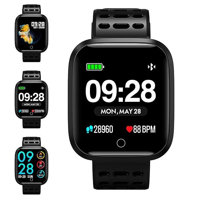 Reloj Inteligente, KUNGIX Smartwatch Pulsera Actividad Inteligente Impermeable IP67 Pantalla Color Pulsera Podómetro con Pulsómetro, Monitor de ...