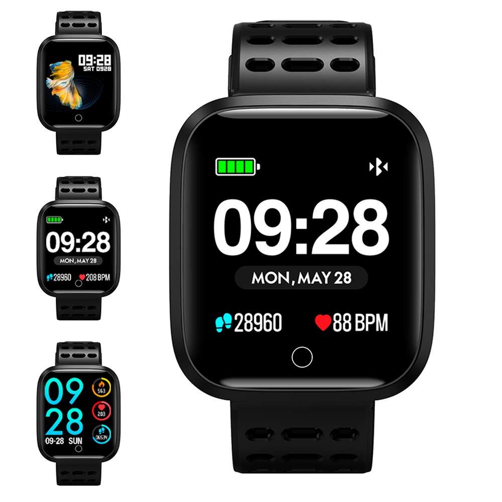 Reloj Inteligente, KUNGIX Smartwatch Pulsera Actividad Inteligente Impermeable IP67 Pantalla Color Pulsera Podómetro con Pulsómetro