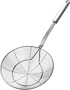 Cooking Skimmers, Spider Strainer ,YFWOOD 7 Inch Stainless Steel Reinforced Double Coil Strainer Skimmer with Large Handle Asian Strainer Ladle for Kitchen Deep Frying Food Spaghetti Noodle(1 PC)