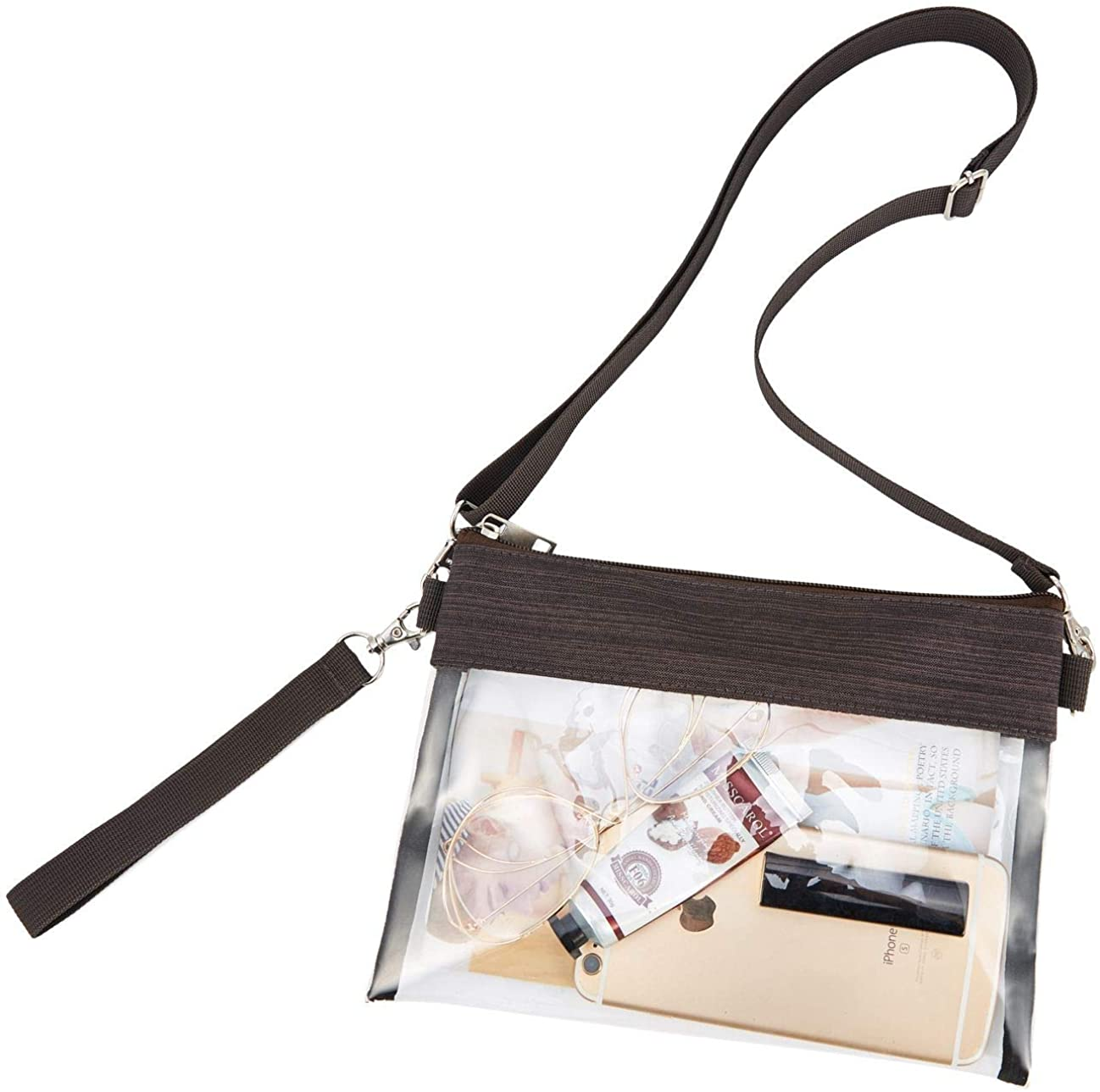 GreenPine Clear Crossbody Purse Bag - NFL,NCAA Stadium Approved Clear Tote Bag with Adjustable Shoulder Strap (Brown)