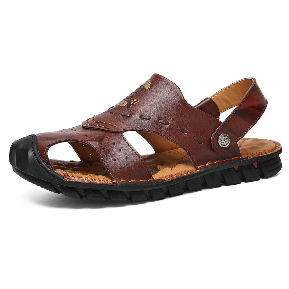 Sunny&Baby Zapatillas de Playa de Cuero Genuino de los Hombres Zapatos Sandalias Antideslizantes Ocasionales Ajustables Sin Respaldo Resistente a la Abrasión 43 EU Marrón