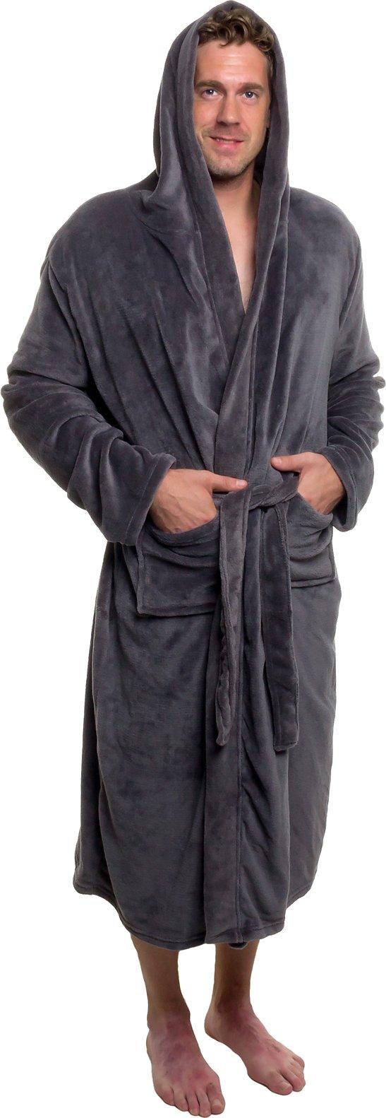 Ross Michaels Mens Hooded Robe - Plush Shawl Kimono Bathrobe (Grey, L/XL)