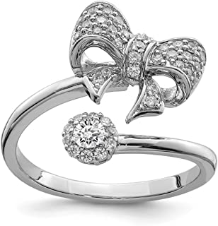 Diamond2deal Argento sterling rodiato lucido con CZ Bow anello regolabile