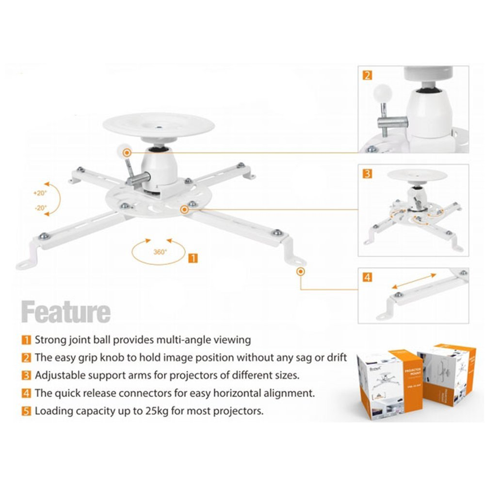 PrimeCables /® Universal Projector Ceiling Mount Bracket with 360 Degree Rotation Swivel//Tilt LCD DLP Adjustments /& Quick Release Mechanism 25kgs//55lbs White