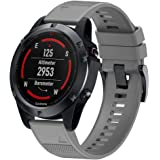 BarRan Silicone Watchband for Fenix 5, Soft Silicone Easy Install Sport Watch Strap replacement for Garmin Fenix 5/Fenix 5 Plus/Forerunner 935/Quatix 5 (NOT FIT Fenix 5S, Fenix 5X)