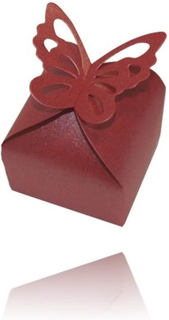 Einssein 12x Caja de Regalo Boda Mariposa Aurora Rojo Oscuro Cajas Bonitas para cajitas Regalos Bombones Carton bolsitas Papel chuches Bodas Bautizo pequeñas pequeña recordatorios comunion Navidad: Amazon.es: Hogar