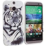 Cell Accessories For Less (TM) White Tiger TPU Design Soft Case Cover for HTC One M8 Bundle (Stylus & Micro Cleaning Cloth) - By TheTargetBuys