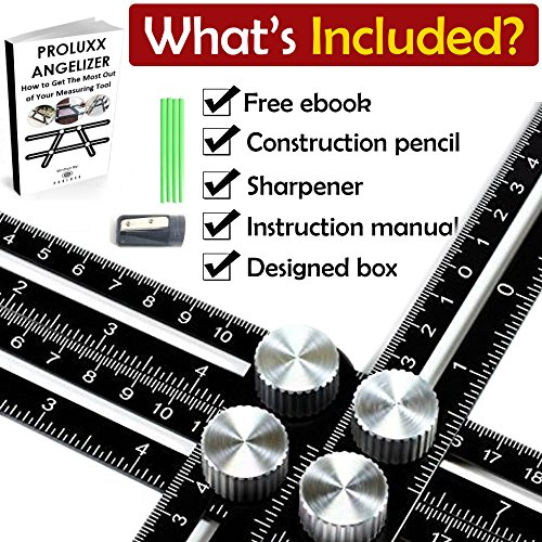 Stair Angle (Multi Angle Measuring Ruler - Premium Aluminum Alloy Easy Angle Ruler, Angleizer Template Tool, FREE EBOOK, Construction Pencil, Sharpener, & Instruction Manual, Handymen, Carpenter, & Builder)