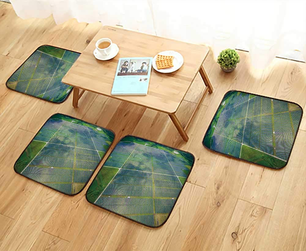 UHOO2018 Comfortable Chair Cushions View Over Solar Panel Farm Outside ustin Texas Reuse can be Cleaned W17.5 x L17.5/4PCS Set