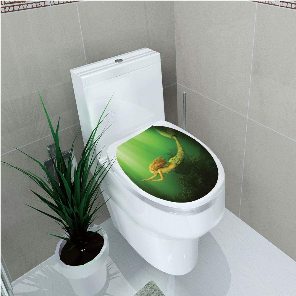 Toilet Cover Sticker 3D Printing,Mermaid,Mermaid with Fish Tail Swimming in The Deep Sea Fantasy World Artwork,Green Dark Green Ginger,for You Design,W12.6''xH15.7''