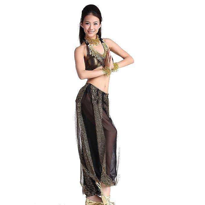 DanceWear Juego de disfraz de danza del vientre tribal Danza de la India sin espalda sujetador y falda de lentejuelas: Amazon.es: Ropa y accesorios