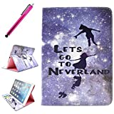 iPad Air Case, JCmax Protective Cover New [Card Slots] [Durable Cover] [Kickstand Feature] Colorful Premium Flip Side Folio Style Foldable PU Leather Wallet Case Skin Cover Protection for Apple iPad Air (iPad 5, 5th Generation Released 2013) + One Stylus - [Fliying to Neverland]
