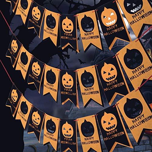Halloween Decorations, Happy Halloween Bunting Banner with Pumpkin Sign, Felt Cloth Banner Wall Décor for Outdoor Indoor Halloween Party Decoration Supplies