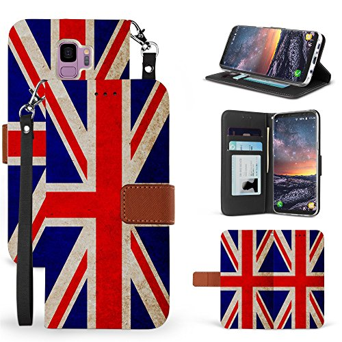 Galaxy S9 Case, Beyond Cell Faux Leather Hybrid Flip Wallet Cover With Phone Strap Card Slots Magnetic Flap Closure - Printed Union Jack British Flag (Union Printed)