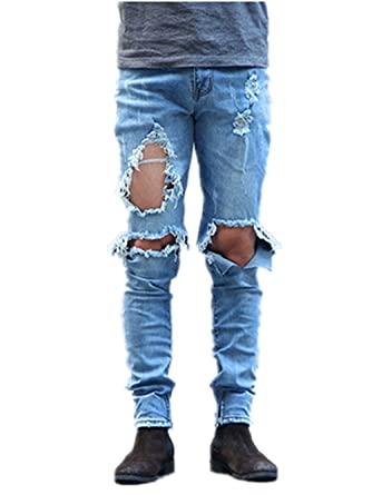 Men's Destroyed Ripped Knee Hole Cotton Skinny Denim Jeans Jogger ...