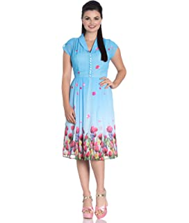 7e8610e3657c Hell Bunny Suzannah Rose Tartan 40s Chiffon Tea Dress: Amazon.co.uk ...