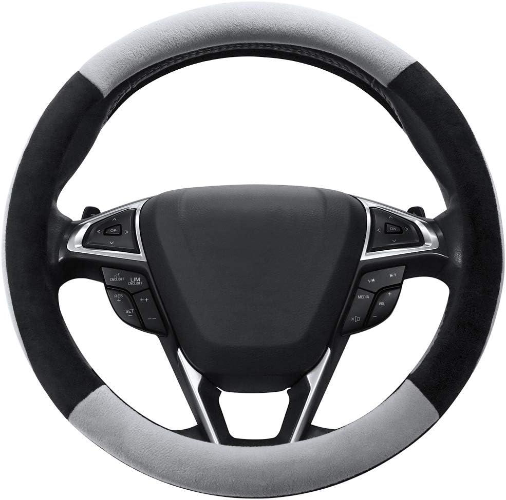 SEG Direct Gray Plush Winter Auto Car Steering Wheel Cover Universal 15 inch