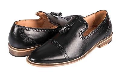 cf82ef67beb Vince Nancy Genuine Handcrafted Leather Dress Shoes for Men Tassel Loafer  Mens Slip on Shoes Indigo Blue