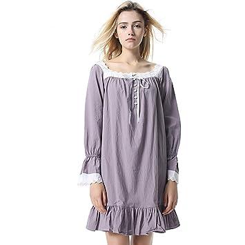 10b613c0e YuFLangel Pijama para Mujer Vestido de Mangas largas con Volantes para  Mujer Pijamas de Color sólido Ropa de Dormir Suave de algodón para Damas ...