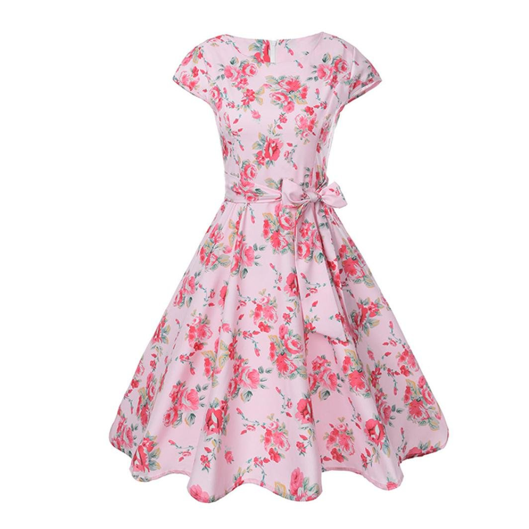 Twinsmall Womens Dresses Party Dresses 1950s Vintage Dresses Swing Stretchy Dresses Cap-Sleeve Pink E) Twinsmall-MTS265
