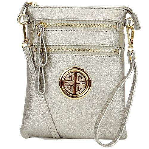 Clutch Shoulder Small Purse Multi pewter Faux Small Bag Ladies Crossbody Women Bag Lightweight Pockets Leather Messenger qaUXwHT