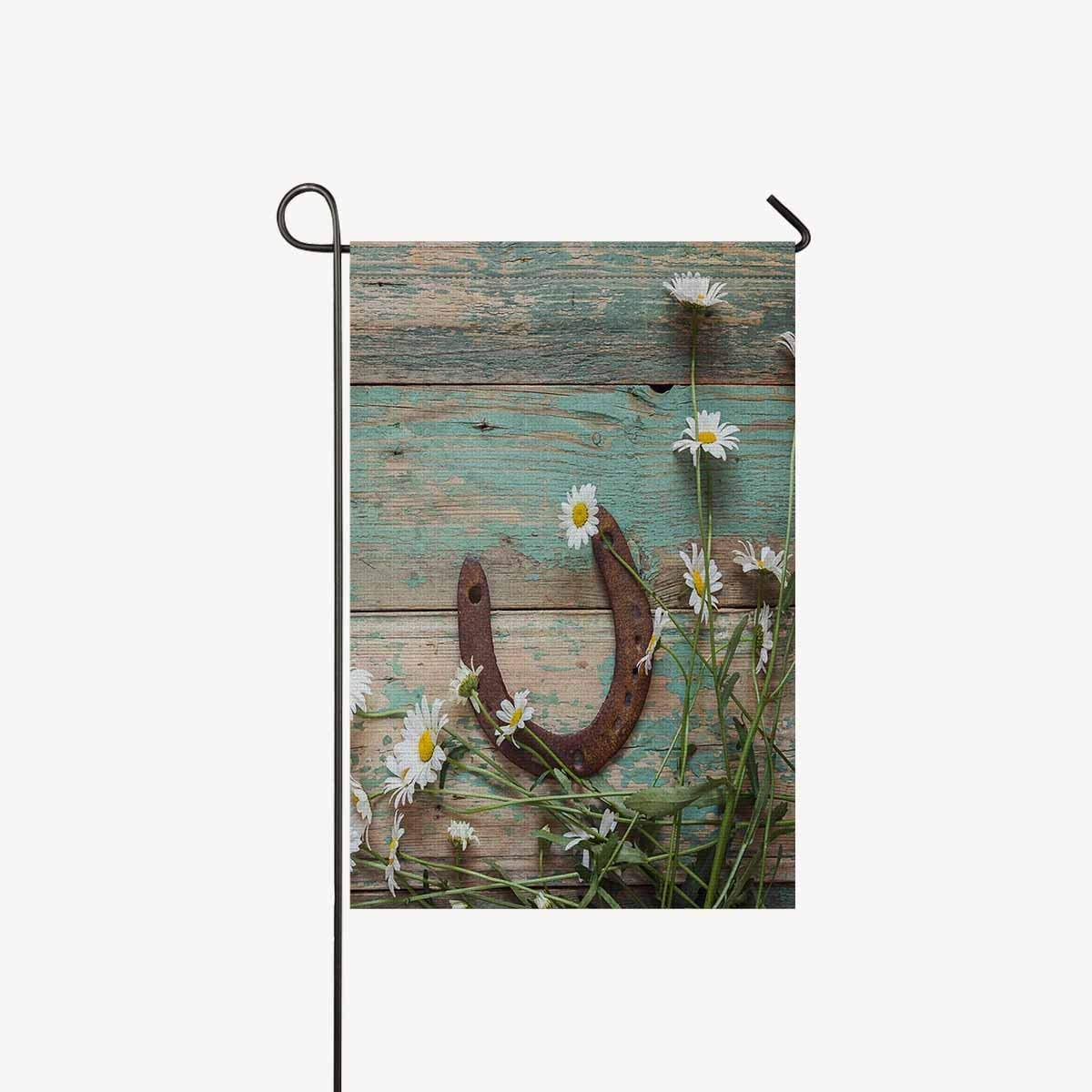 """TAOGAN Rusty Horseshoe and Daisies on Rustic Old Barn Wood Double-Sided Garden Flag Home House Banner Decorative Flags Best for Party Yard Home Outdoor Decor 12"""" x 18""""(Without Flagpole)"""
