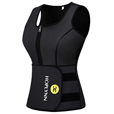 HOPLYNN Neoprene Sauna Sweat Vest for Women, Waist Trainer Corset Trimmer Vest with Belt for Weight Loss Women at Women's Clothing store