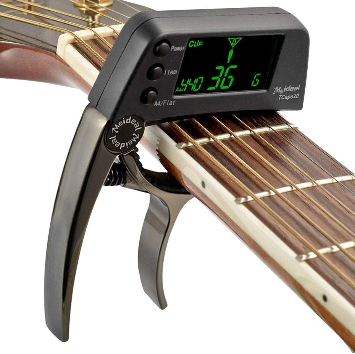 Afinador de guitarra Capo, 2 en 1 Afinador de guitarra Capo Afinador profesional de guitarra Capo con LCD digital cromático Afinador de guitarra para guitarra eléctrica acústica Bajo Violín Ukulele