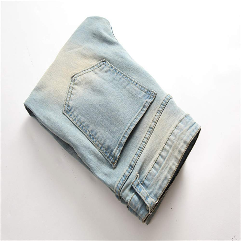 Size : 30 Lyntop Mens Blue Skinny Jeans Stretch Washed Slim Fit Straight Pencil Pants