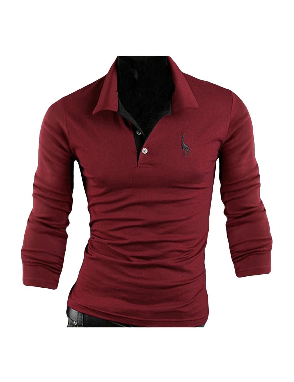 Jueshanzj Herren Langarm Polohemd Poloshirt T-Shirt mit Kentkragen:  Amazon.de: Bekleidung
