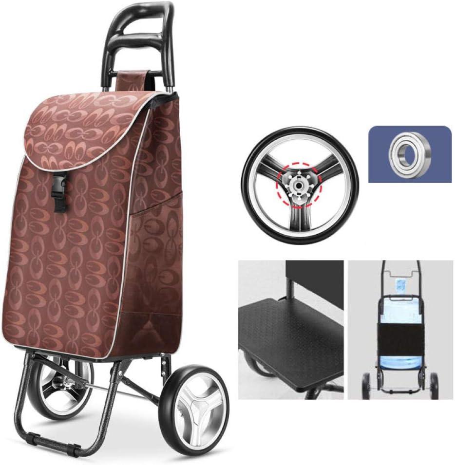 Carro de Carro Escaleras Carro de Ancianos Rueda Carro de Mujer Bolsas de Compras para el hogar Trolley Remolque Portátil Plegable@Patrón