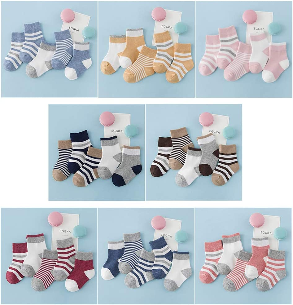 dontdo 5 Pairs Toddler Baby Boy Girl Soft Warm Cotton Anti-Slip Striped Socks Blue S