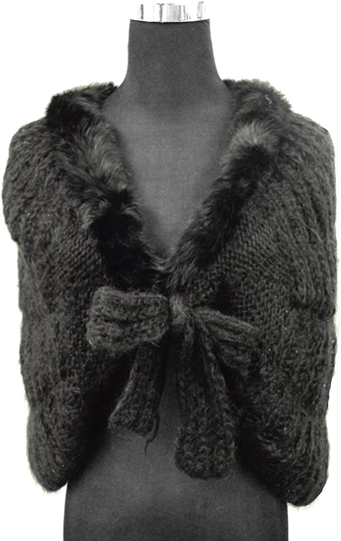 Vintage Knitted Angora Evening Wrap Shawl Stole Pattern