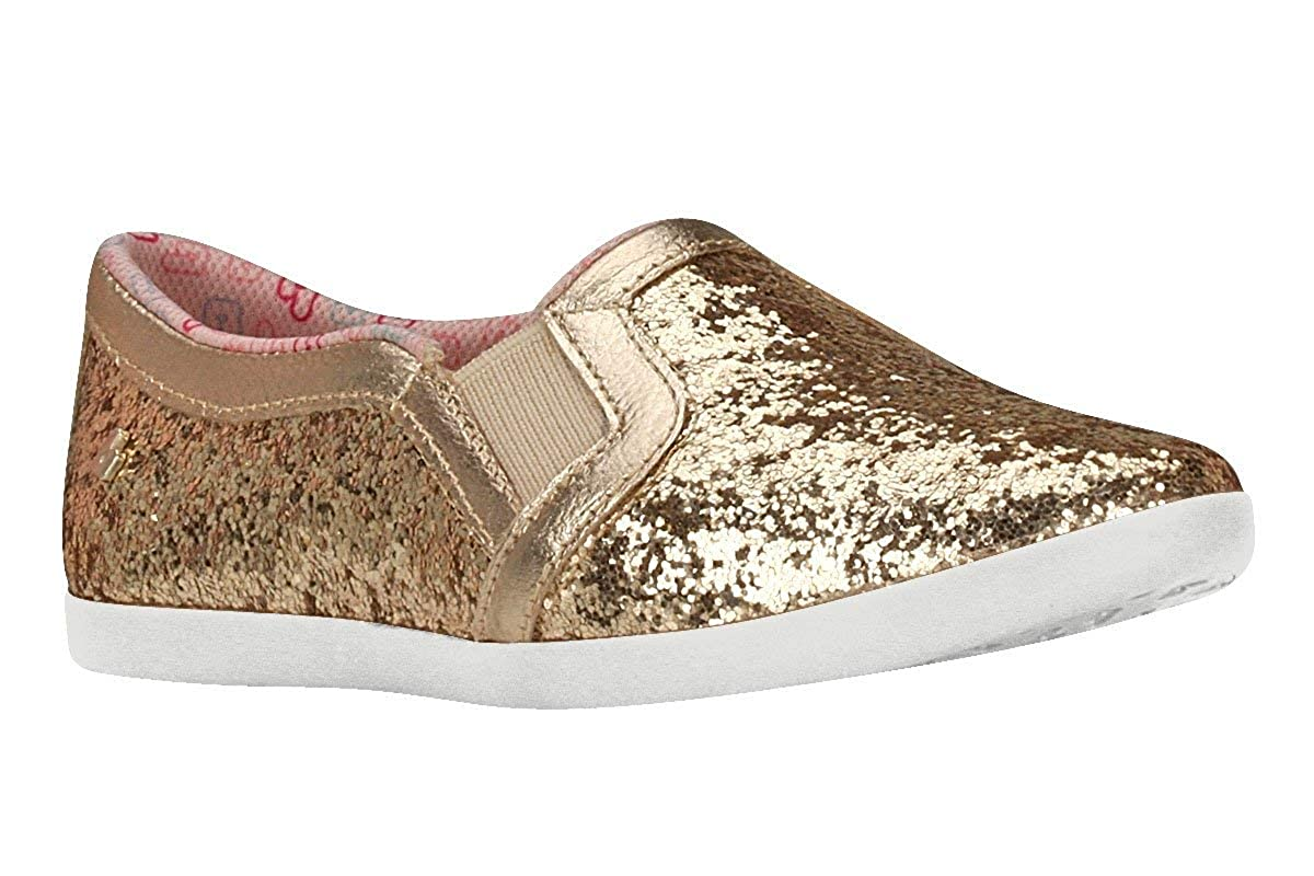 KIDKLICK FUN FASHION Sizes 11.5 Little Kid - 6.5 Big Kid FROM BRAZIL Girls Slip-On Glitter Shoes in Gold