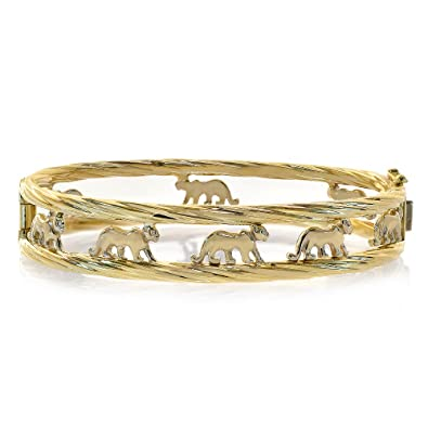 3ca015a3a Image Unavailable. Image not available for. Color: Avital & Co. Walking  Panther Cat Bangle Bracelet 14K Yellow Gold