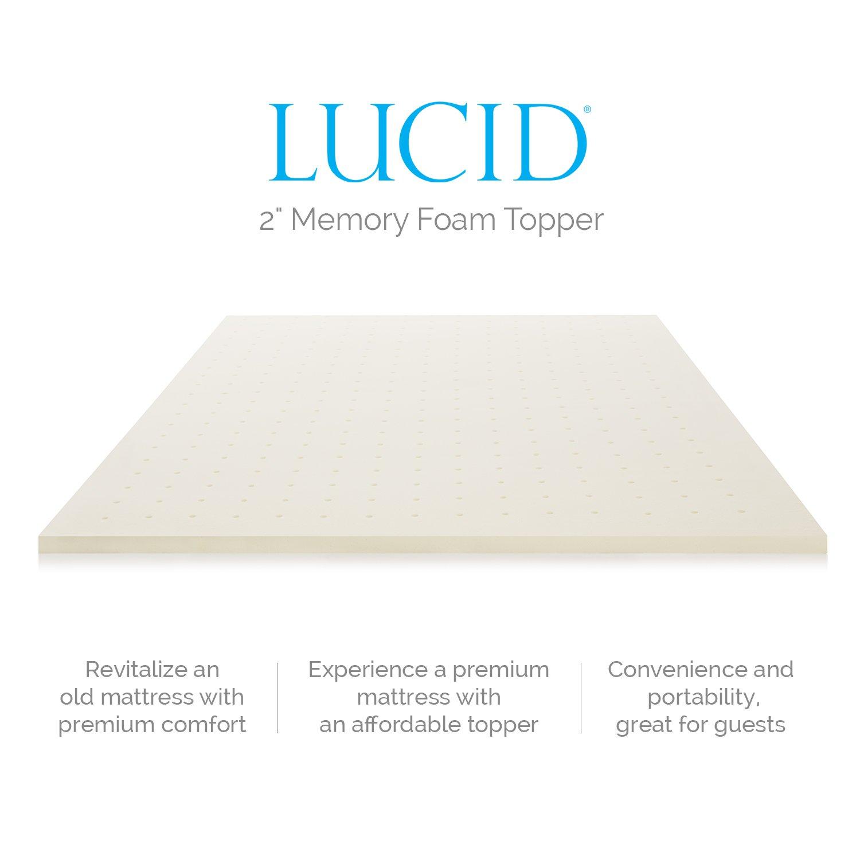 "Amazon.com: LUCID 2"" Ventilated Memory Foam Mattress Topper, Twin: Home &  Kitchen"