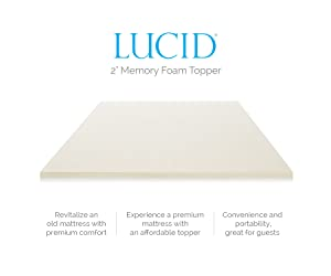 Lucid 2-Inch Ventilated Memory Foam Mattress Topper, Queen