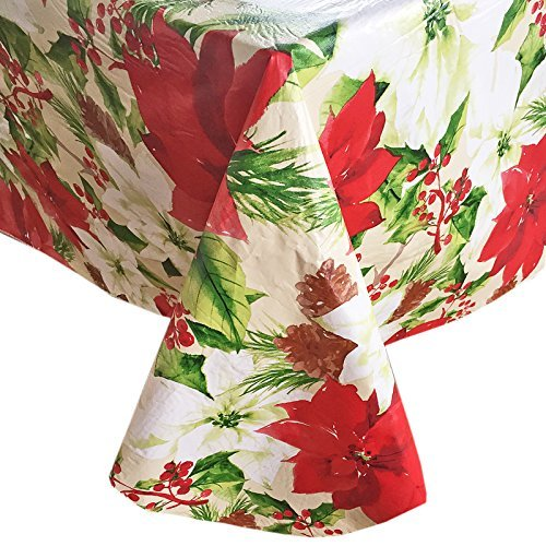 Christmas Painted Poinsettia Contemporary Flannel Back Vinyl Christmas Tablecloth, (52 Inch x 70 Inch Oblong)