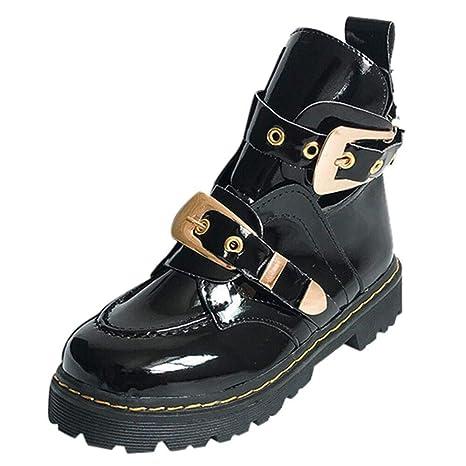 Logobeing Botas Altas de Cuero de Terciopelo de Charol de Hebilla de Mujer Zapatos Laterales Transpirables