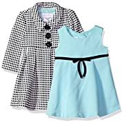 Bonnie Baby Baby Girls Dress and Coat Set, Black/Aqua, 6-9 Months