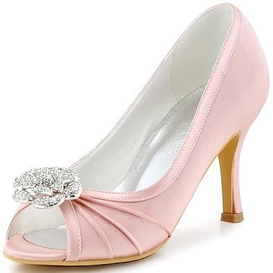 Elegantpark EP2094AF Women s Peep Toe AF01 Removable Shoe Clips Prom High  Heel Satin Pleated Rhinestones Evening ff7252b9ca34