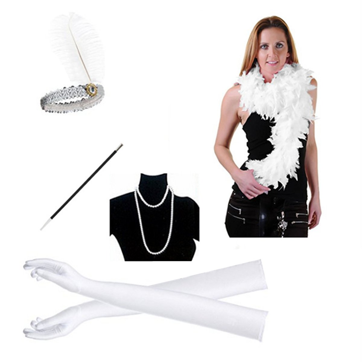 c847fc6f58c Top1  1920s Flapper Headband Flapper Accessory Girl Dress Assembly Necklace  Gloves Cigarette Holder Scarf 5PCS Gatsby Party